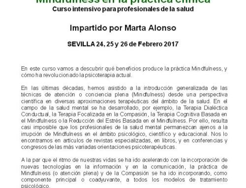 Curso Mindfulness en la práctica clínica. 24, 25 y 26 febrero 2017