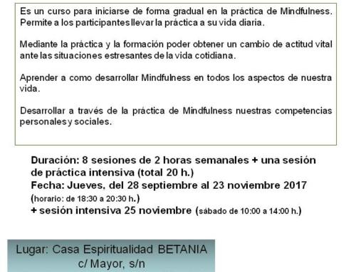 Curso MINDFULNESS: Vivir con Consciencia Plena. Septiembre-noviembre 2017