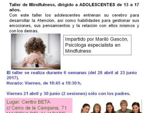 Taller Mindfulness para adolescentes. Abril- junio 2017