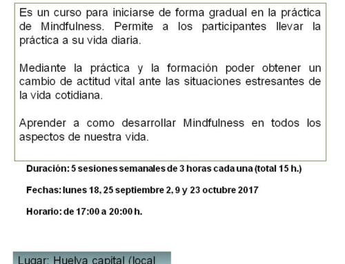 Curso MINDFULNESS. Huelva, septiembre 2017
