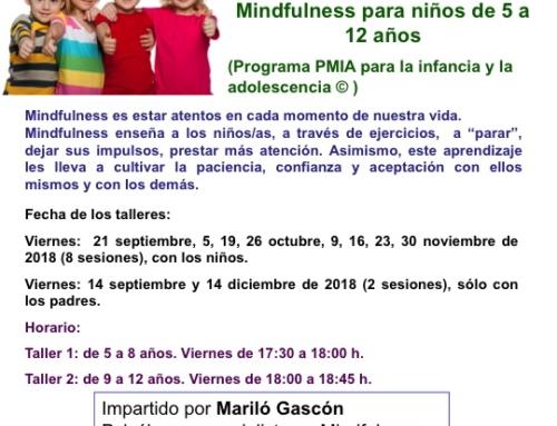 TALLERES MINDFULNESS para niñ@s de 5 a 12 años. Del 14 septiembre al 14 de diciembre de 2018