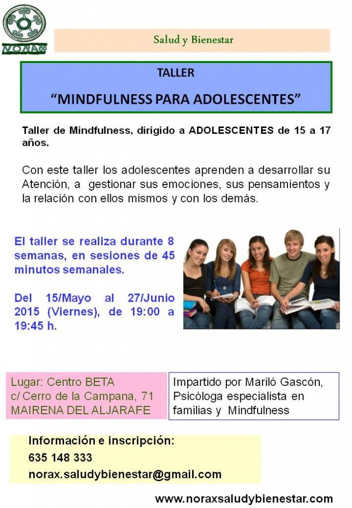 TALLER MINDFULNESS ADOLESCENTES 15-17 AÑOS, MAYO-JUNIO