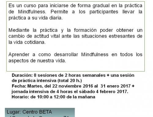 Curso práctico de Mindfulness, del 22-11-2016 al 31-01-2017