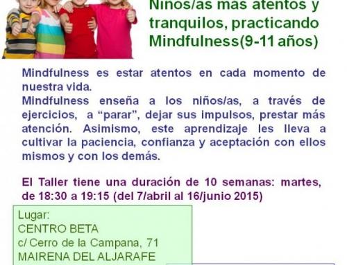TALLER MINDFULNESS NIÑOS/AS 9-11 AÑOS, ABRIL-JUNIO