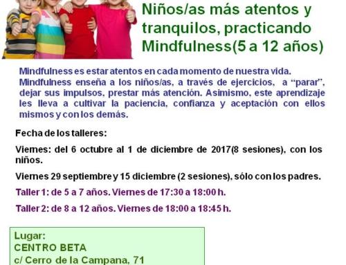 Talleres Mindfulness para niños/as de 5 a 12 años. Septiembre 2017