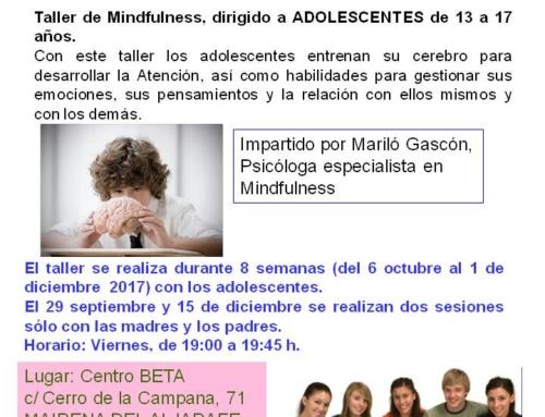 Talleres Mindfulness para adolescentes. Septiembre diciembre 2017