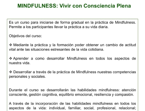 Curso Intensivo Mindfulness: vivir con consciencia plena. Septiembre 2018