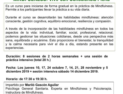 Curso MINDFULNESS: Vivir con consciencia plena. Del 10 octubre al 14 diciembre 2019 en Sevilla.