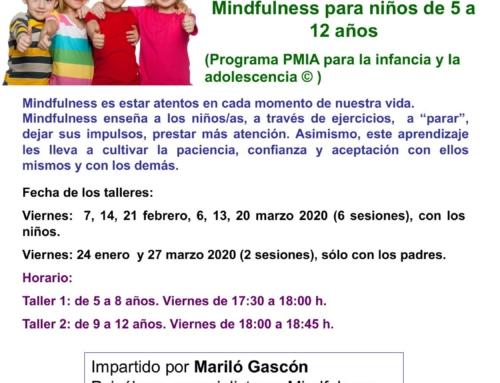 Talleres Mindfulness para niños/as. Del 24 de enero al 27 de marzo 2020