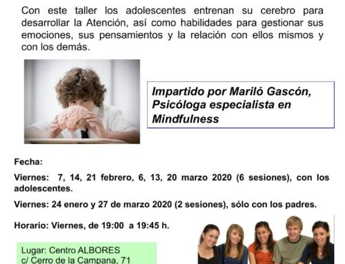 Taller Mindfulness para adolescentes. Del 24 de enero al 27 de marzo 2020.