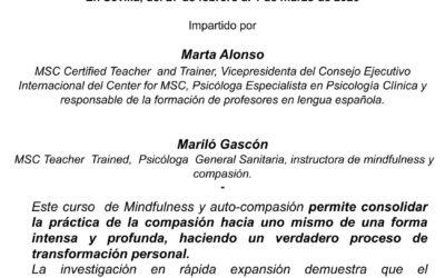 Programa oficial intensivo MSC (Mindfulness self-compassion). Sevilla, febrero 2020