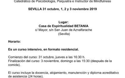 Curso MINDFULNESS: EL DESARROLLO DE LA CONSCIENCIA HUMANA. Impartido por Vicente Simón. Del 31 octubre al 3 de noviembre de 2019. En Sevilla.