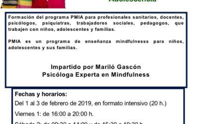 Formación para profesionales del Programa PMIA – Mindfulness para la infancia y la adolescencia. Febrero 2019