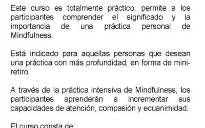 CURSO/RETIRO MINDFULNESS 22 DE NOVIEMBRE