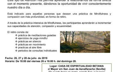Retiro de silencio Mindfulness y Compasión. 26, 27 y 28 de julio 2019.