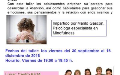 Taller Mindfulness para adolescentes. Septiembre-diciembre 2016
