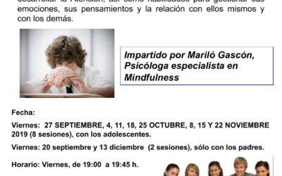 Taller Mindfulness para adolescentes. Del 20 septiembre al 13 diciembre de 2019.