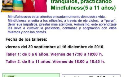 Talleres Mindfulness para niños/as de 5 a 11 años. Septiembre-diciembre 2016